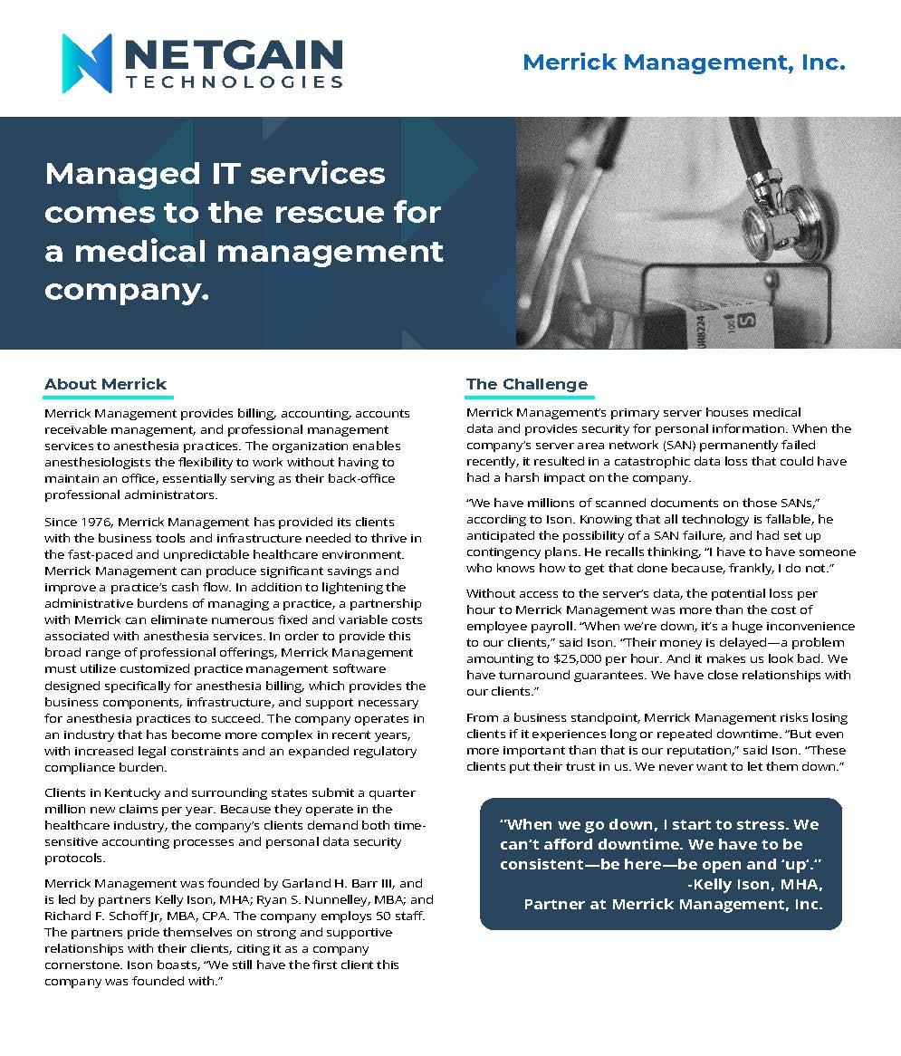Case Study - Managed IT - Healthcare - Merrick Management